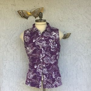 Brisas    Floral button front blouse (sleeveless